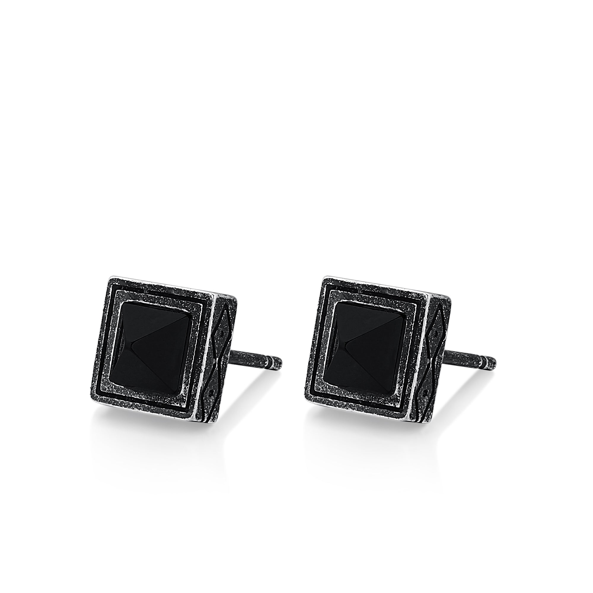 Silver Square Agate Stud Earrings