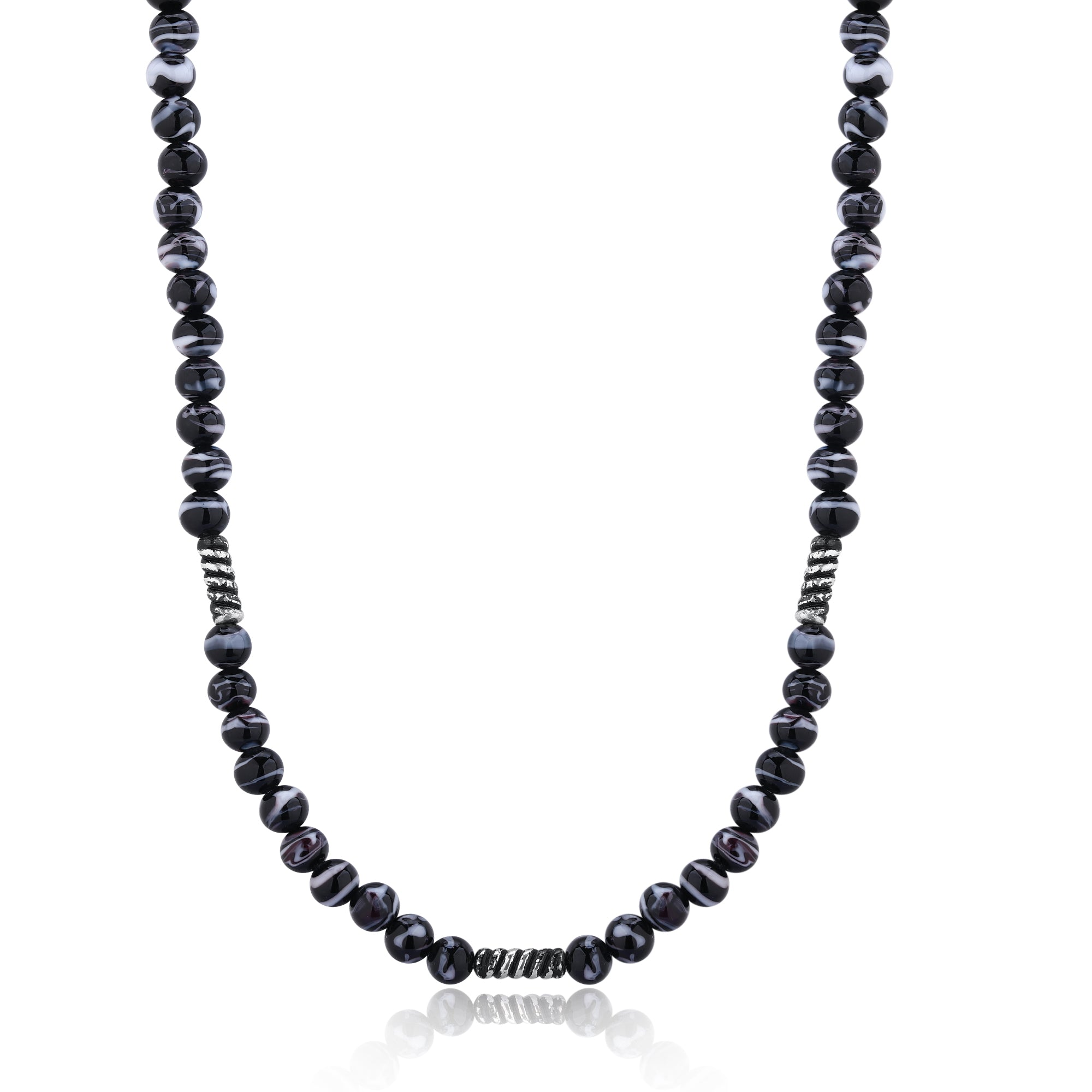 Black-Gray Murano Glass Bead Necklace