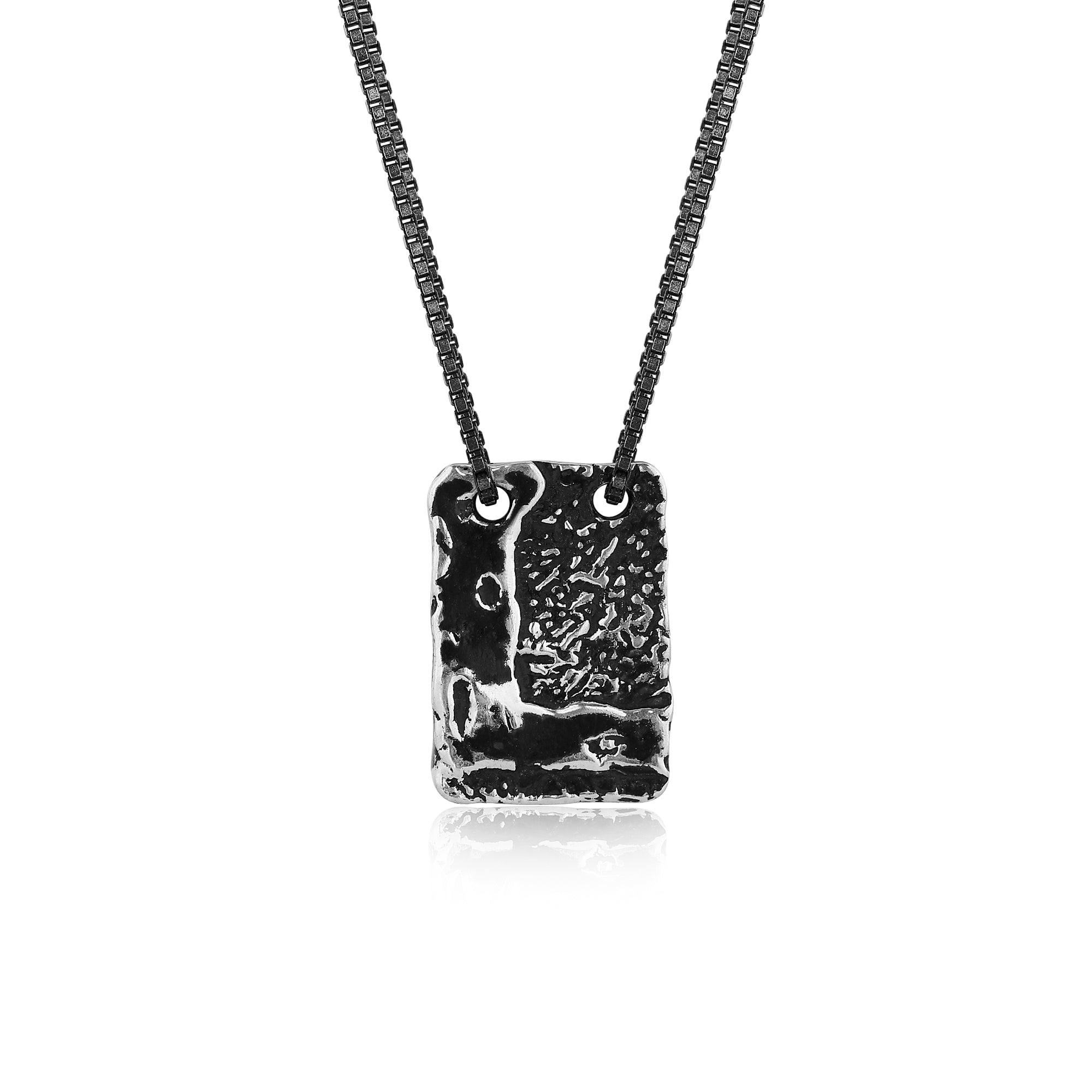 Silver Necklace with Textured Rectangle Pendant