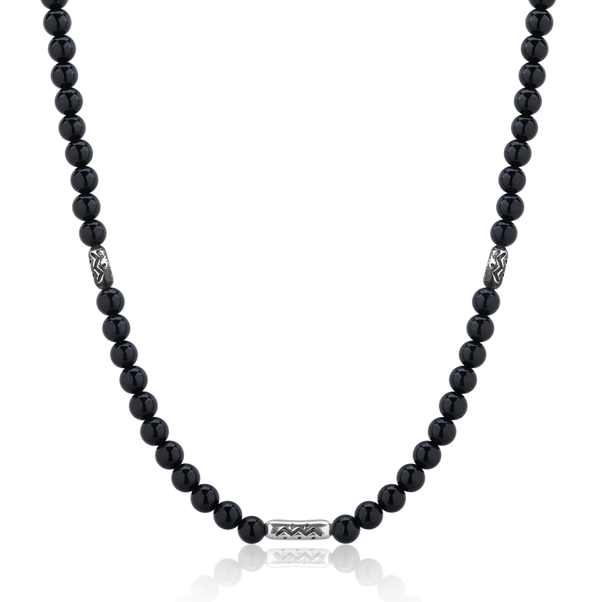 Black Agate and Silver Beaded Necklace