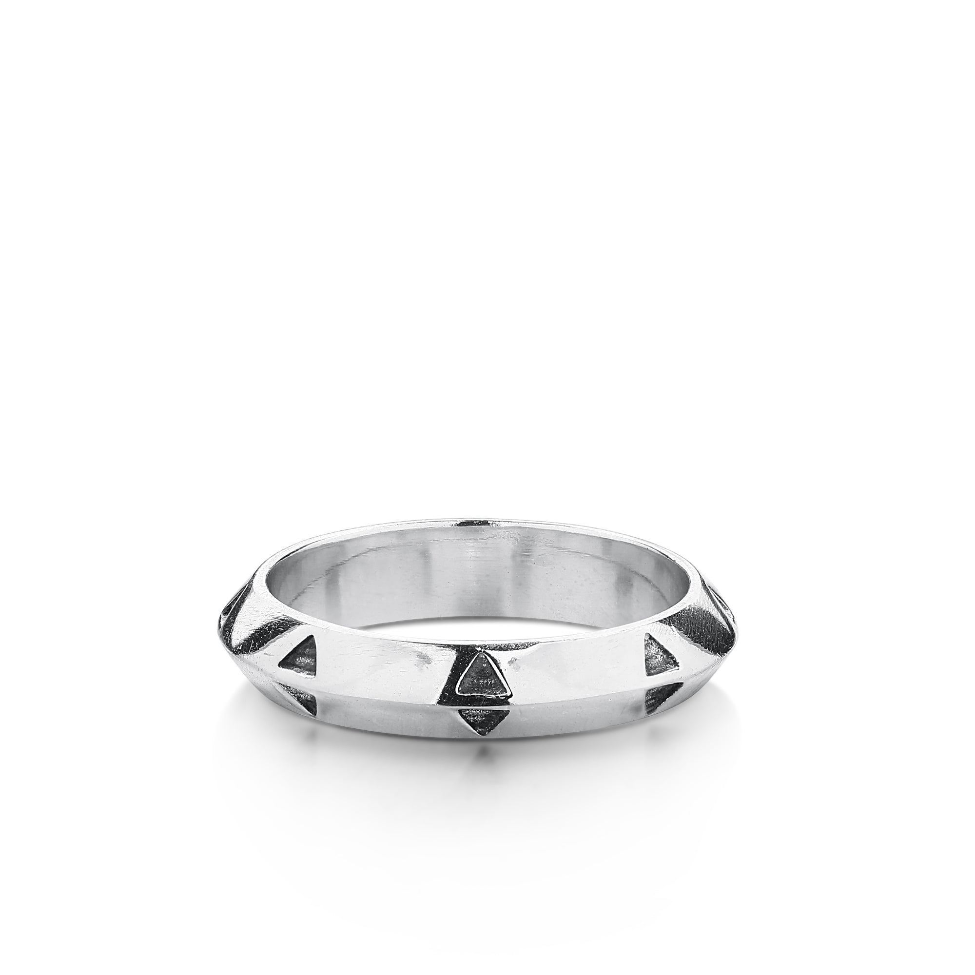 Silver Band with Center Peak and Black Oxidized Triangles