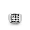 Rhodium Plated Squared Ring with Engraved Feathers