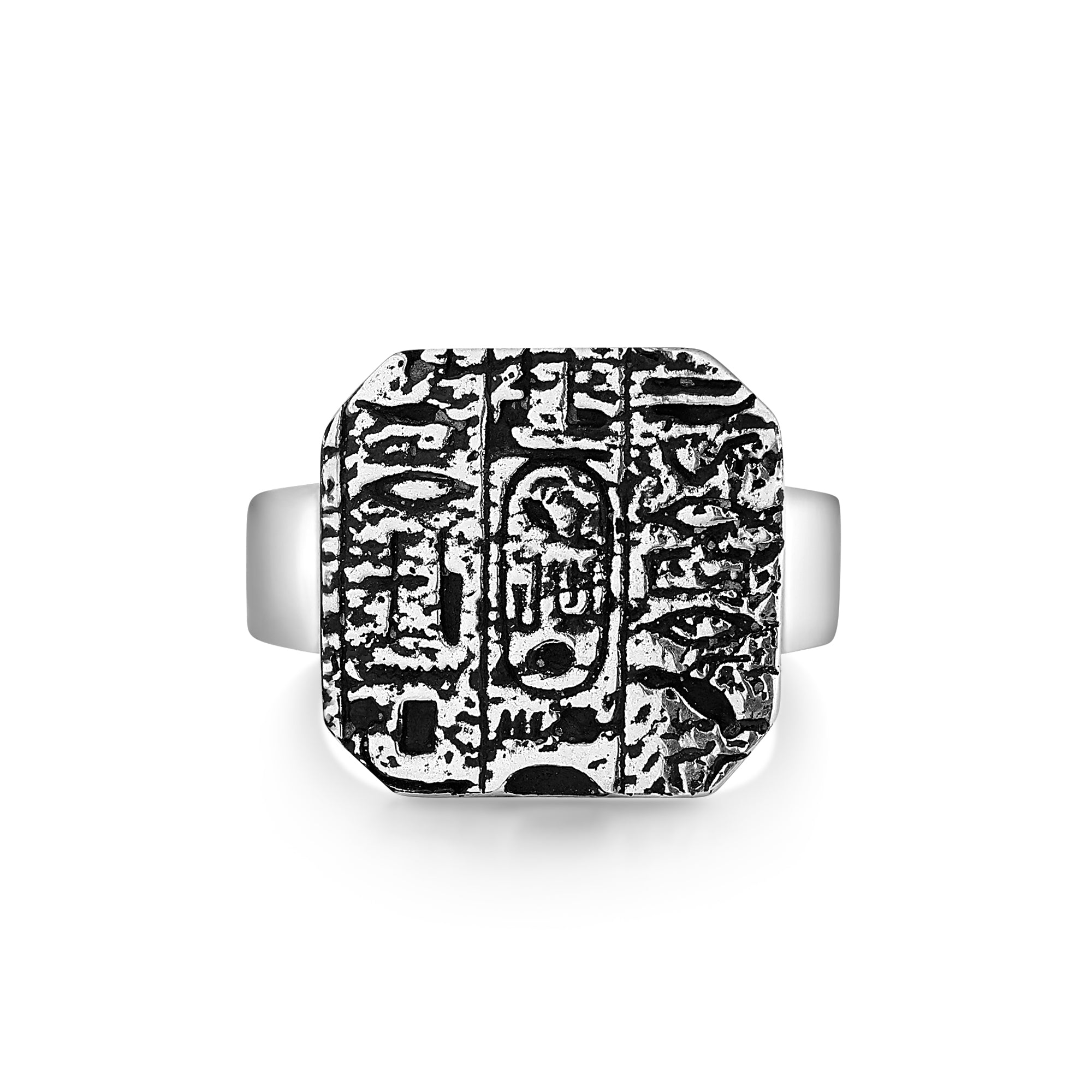 Signet-Style Ring with Textured Hieroglyphics