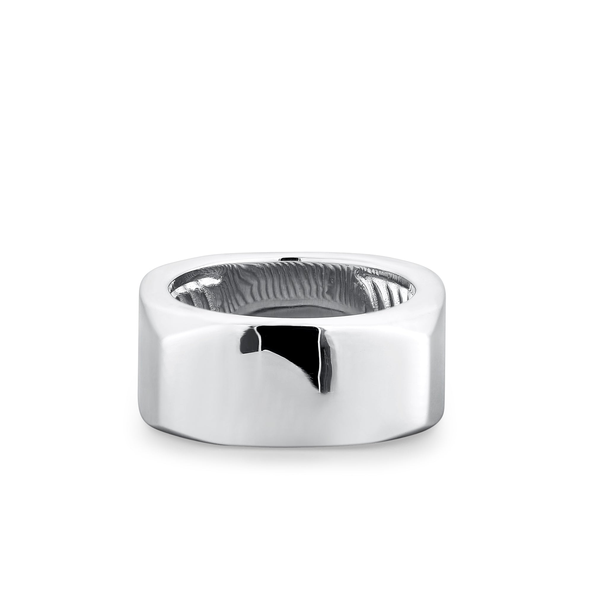 Rhodium Plated Multi-Dimensional Wide Band
