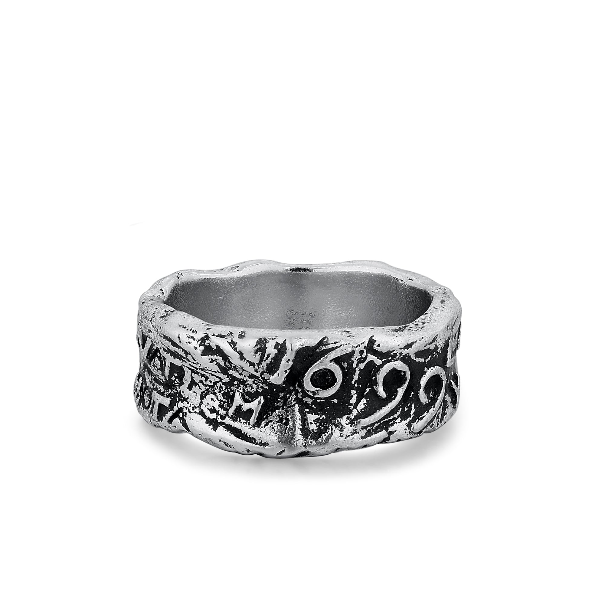 Sterling Silver Wide Band with Letters and Numbers