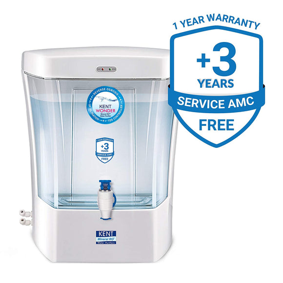 KENT Wonder 7-Litres Wall-mounted / Counter-top RO Water Purifier, Pearl White