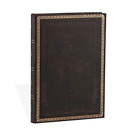 PaperBlanks Old Leather Classics Black Moroccan Hard Cover Single Ruled,  Midi