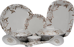 Q'Bon Imperial Sweet Jasmine Dinner Set, 40-Pieces, White/Brown