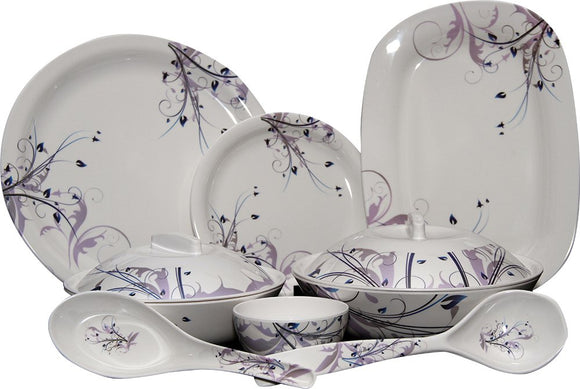 Q'Bon Imperial Peacock Blue Dinner Set, 40-Pieces, Purple/White