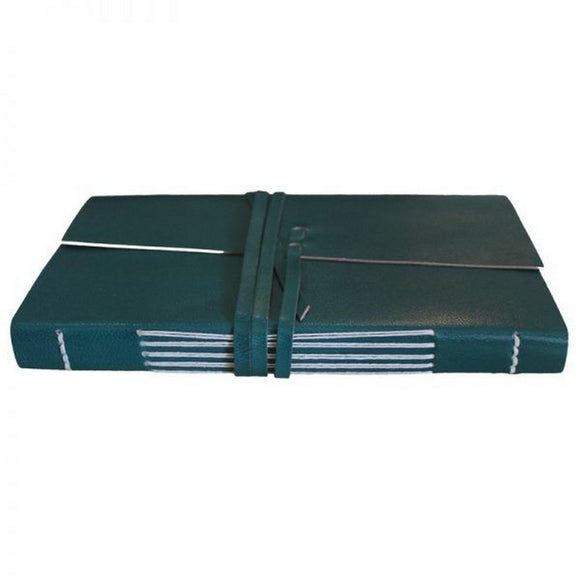Chambers of Ink Genuine Leather Unlined Traveler's Notebook Diary with Tie (Dark Cyan)
