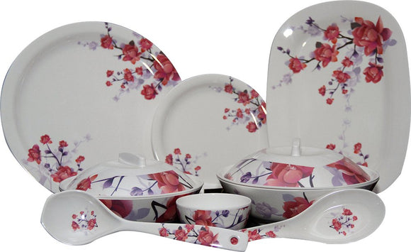 Q'Bon Imperial Cherry Blossom Dinner Set, 40-Pieces, Red/White