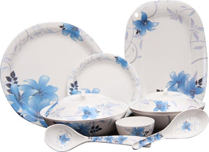 Q'Bon Imperial Morning Glory Dinner Set, 40-Pieces, Blue/White
