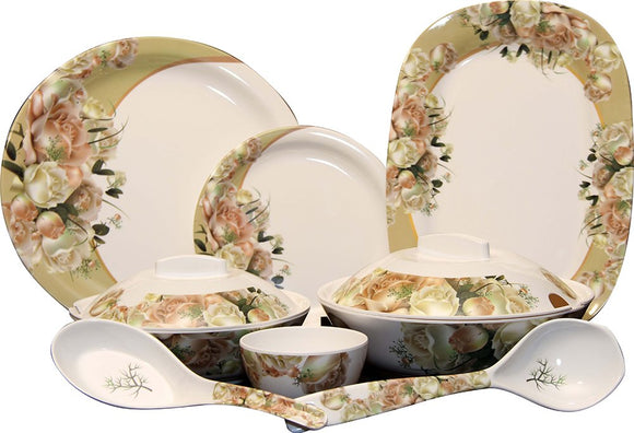 Q'Bon Imperial Blush Rose Dinner Set, 40-Pieces, Multicolor