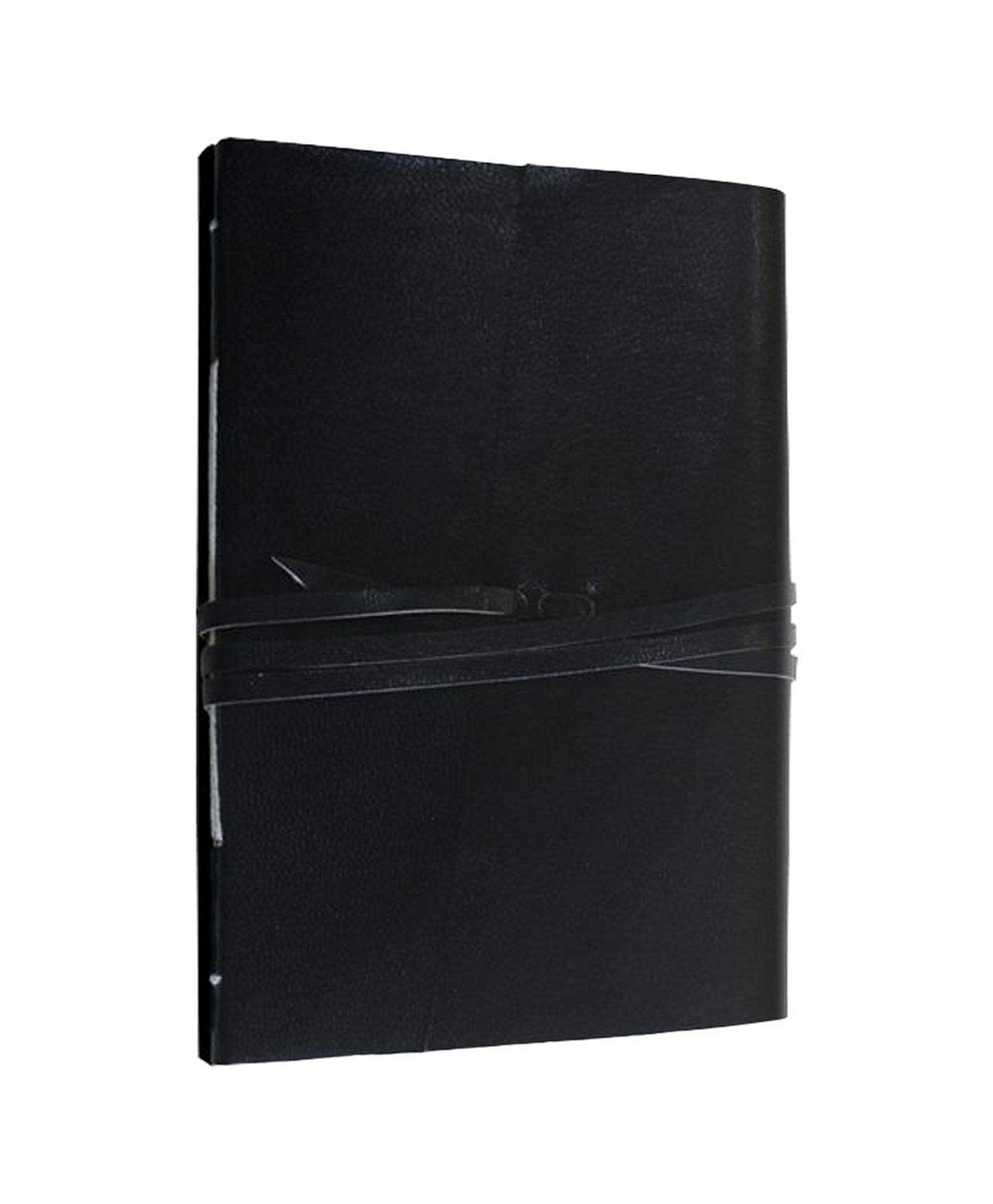 Chambers of Ink Midnight Genuine Leather Unlined Traveler's Notebook Diary with Tie (Black)