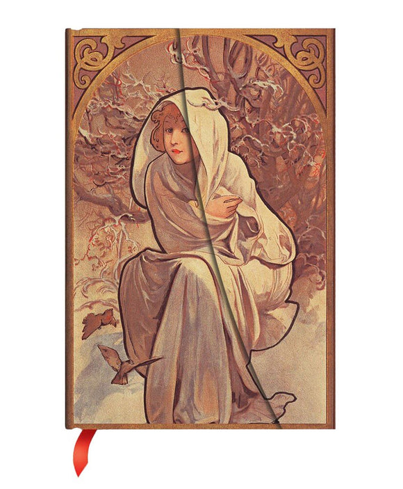 PaperBlanks Mucha Winter Child Hard Cover Single Ruled Diary, Midi