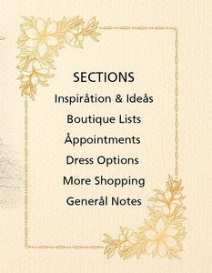 Chambers of Ink My Dress Hard Back Bridal Planner Designed Organizer Notebook - 6 Section, 120 Pages (Blue)