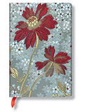 PaperBlanks Chick and Satin Painted Lady Hard Cover Single Ruled Diary Notebook - 10 cm x 14 cm, 176 Pages (Silver and Red)