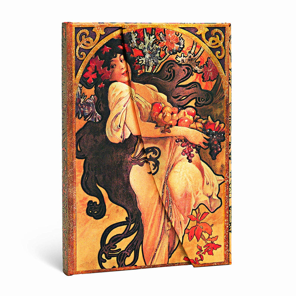 PaperBlanks Mucha Autumn Maiden Hard Cover Single Ruled Diary, Mini
