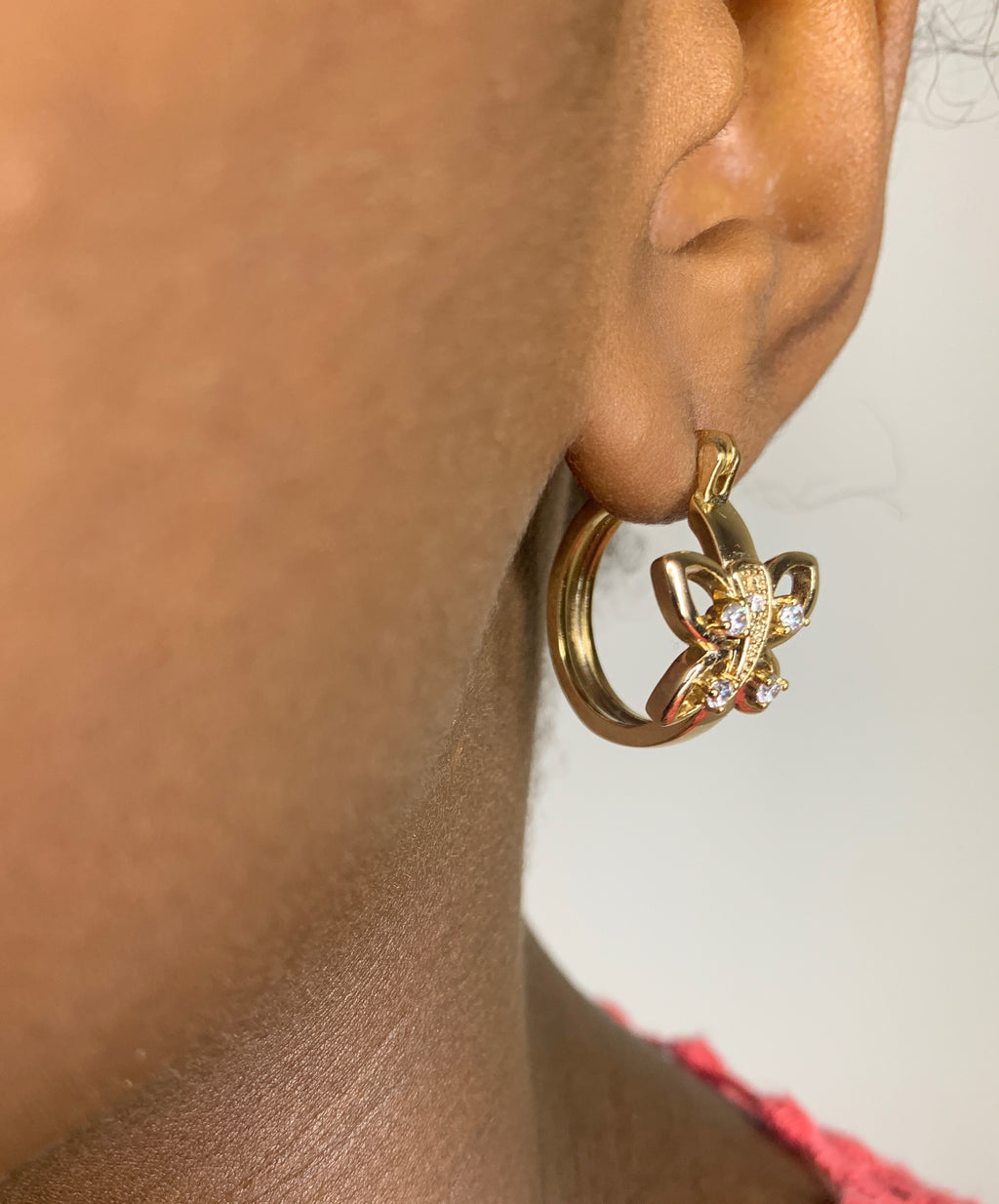 Gold CZ Butterfly Hoops