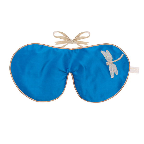 Silk & Velvet Eye Mask in Blue Dragon