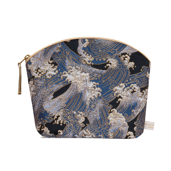 Holistic Silk Brocade Make-Up Bag in Blue Waves