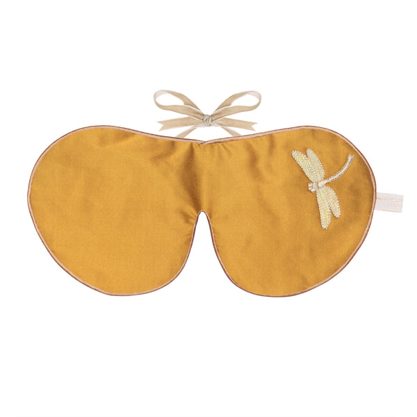 Silk & Velvet Eye Mask with Lavender in Saffron Dragonfly