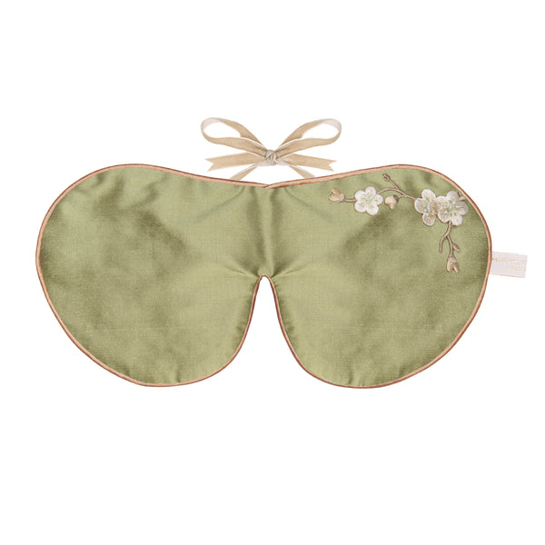 Holistic Silk Eye Mask in Khaki Blossom