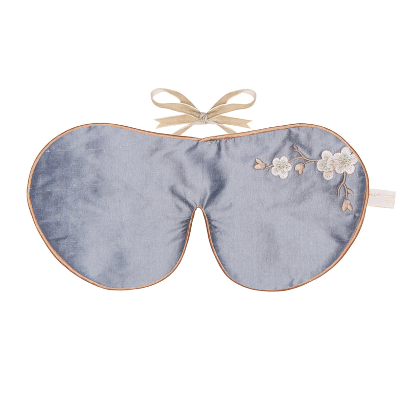 Silk & Velvet Eye Mask with Lavender in Silver Blossom