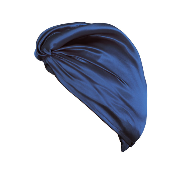 Pure Mulberry Silk Hair Turban in Navy