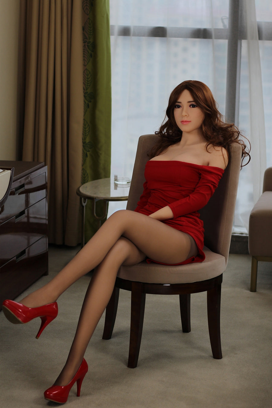 Dana - Blonde busty sex doll in red sexy dress 5ft 5 (165cm)