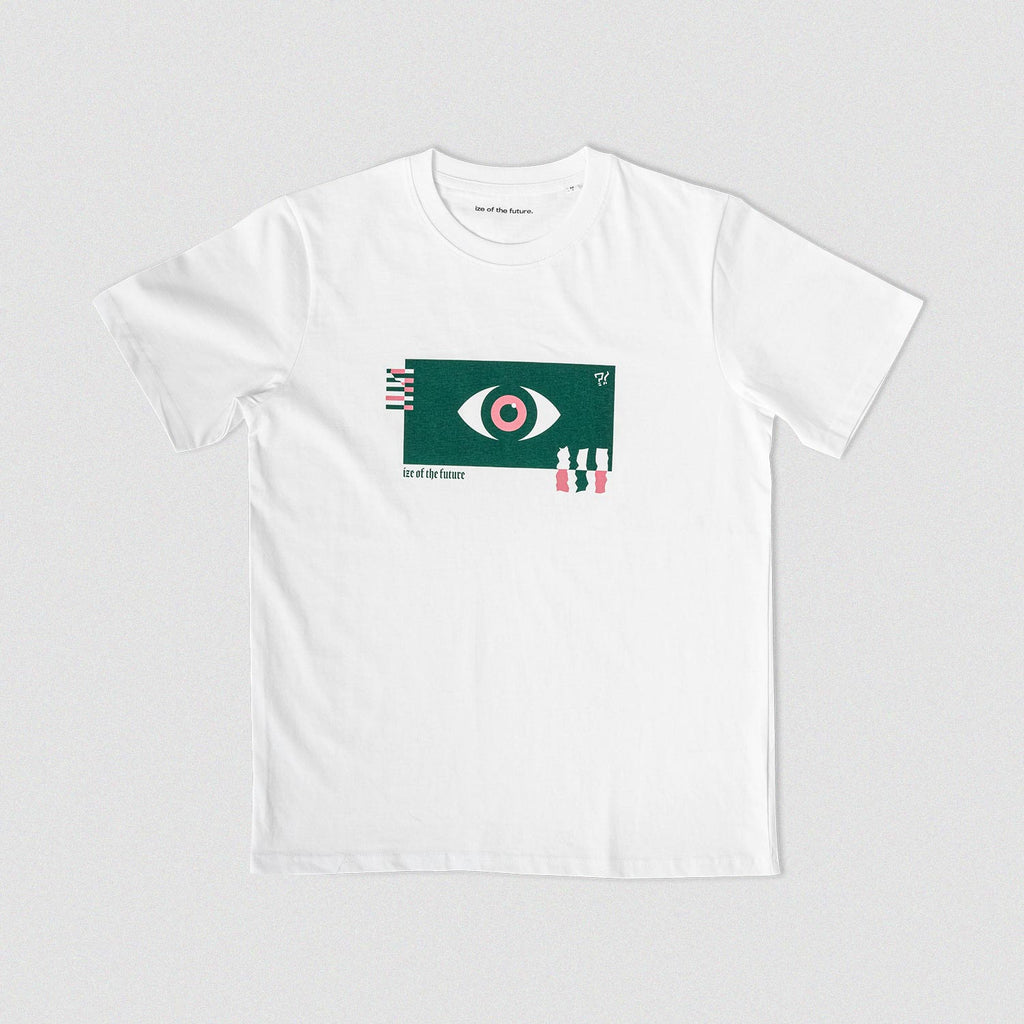 White t-shirt with green and pink graphic