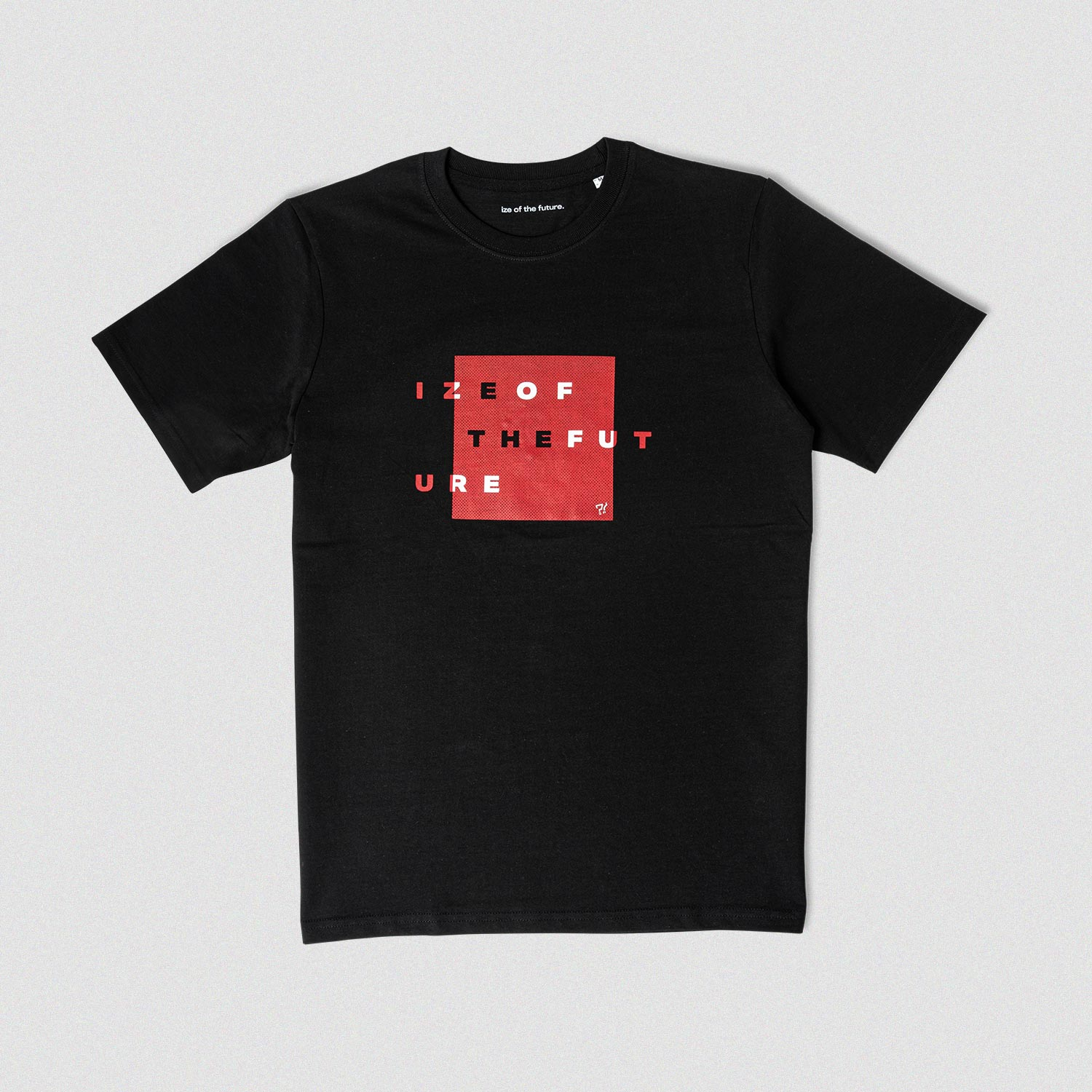 Black t-shirt with red and white graphic