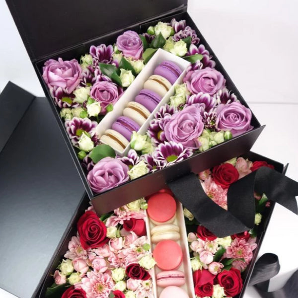 Deluxe Box of Flowers & Macarons