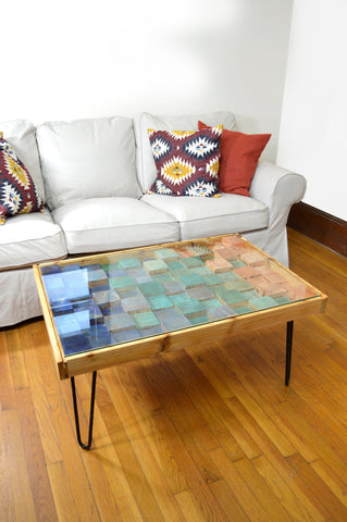 "Blue Tide Rustic 24""x36"" Wood Mosaic Coffee Table - 100% Made in the USA"