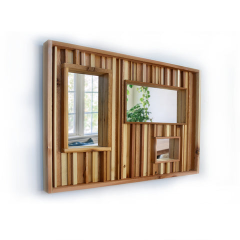 "Rustic Oak and Cedar Reclaimed Wood Triple Mirror Wall Art Decor - 24""x36"" - Made in the USA"