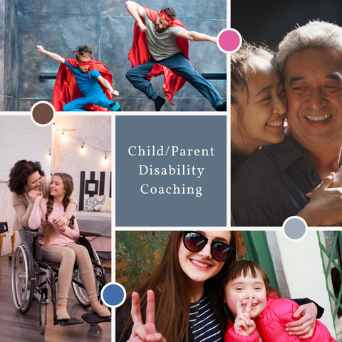 4 image collage, father and son dressed as superheroes jumping, teen daughter using a wheelchair with mother, happy, Asian daughter hugging her father, mother and daughter with Down Syndrome making peace signs, smiling.