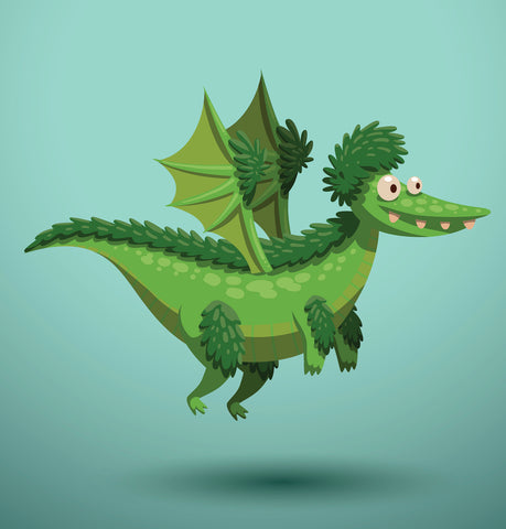 green cartoon dragon with a furry head and legs