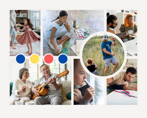 mother dancing with young daughter, young woman painting outdoors, young male playing guitar with young woman , older Asian couple, man is playing guitar to wife, woman writing, and man painting