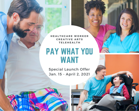 Pay What you Want ad featuring male nurse assisting an elderly man, two smiling female nurses in scrubs, and personal care attendant laughing with boy in wheelchair