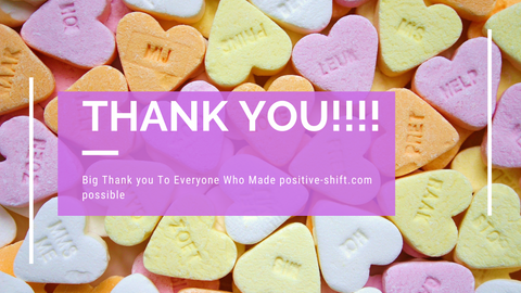 thank you text on candy heart background