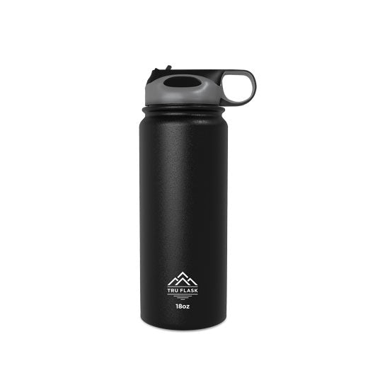 Black 18oz Double Walled Insulated Water Bottle | Tru Flask