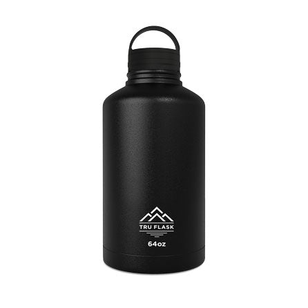 Black 64oz Double Walled Insulated Water Bottle | Tru Flask