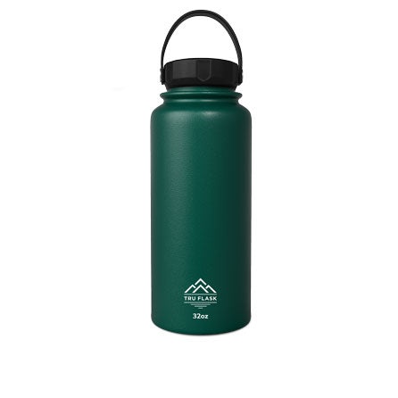 Green 32oz Double Walled Insulated Water Bottle | Tru Flask