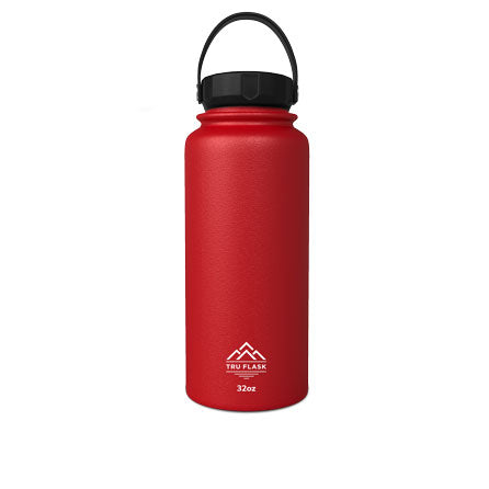 Red 32oz Double Walled Insulated Water Bottle | Tru Flask