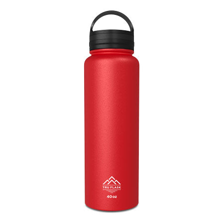 Red 40oz Double Walled Insulated Water Bottle | Tru Flask