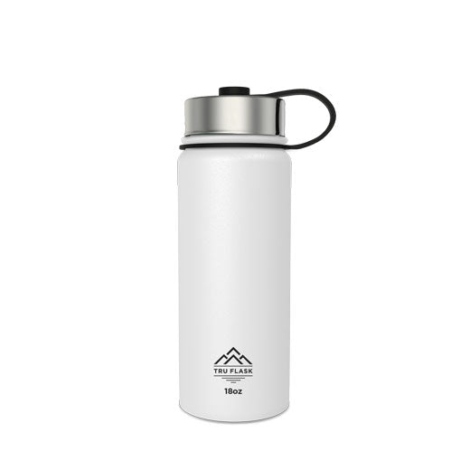 White 18oz Double Walled Insulated Water Bottle | Tru Flask