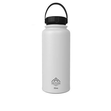 White 32oz Double Walled Insulated Water Bottle | Tru Flask