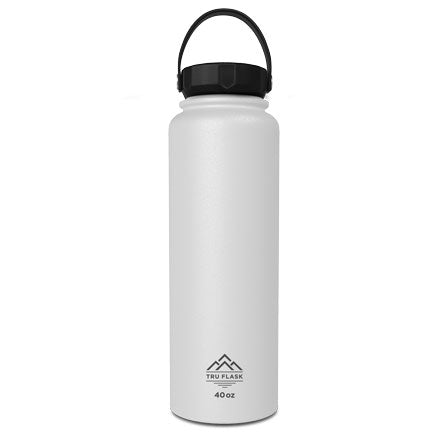White 40oz Double Walled Insulated Water Bottle | Tru Flask