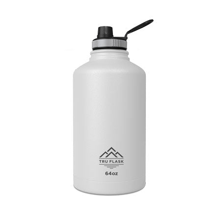 White 64oz Double Walled Insulated Water Bottle | Tru Flask.