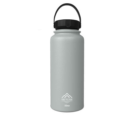 Gray 32oz Double Walled Insulated Water Bottle | Tru Flask